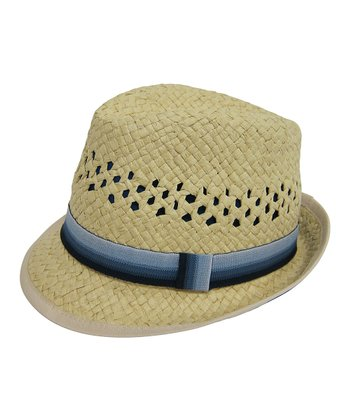 Natural & Blue Stripe Woven Fedora