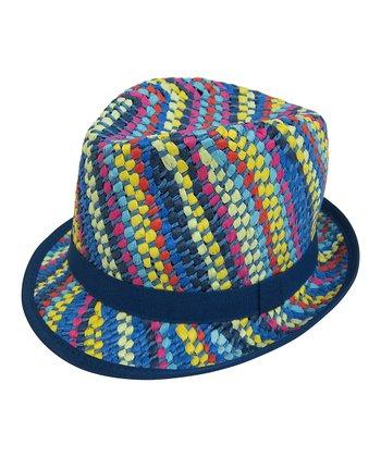 Polychromatic Stripe Woven Fedora