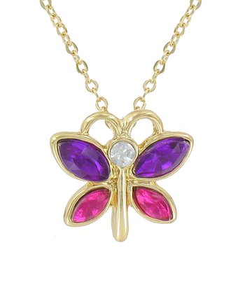 Dark Purple Butterfly Pendant Necklace