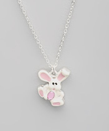 Light Pink Bunny Pendant Necklace
