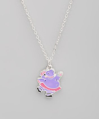 Purple Hippo Pendant Necklace