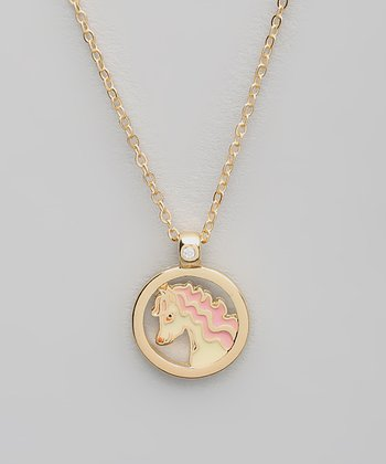 Pink Horse Pendant Necklace