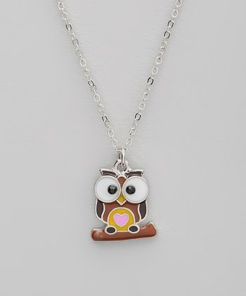 Brown Owl Pendant Necklace