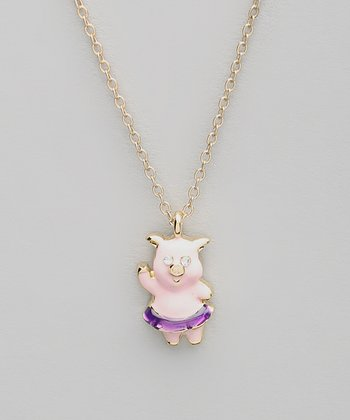 Pink Pig Pendant Necklace