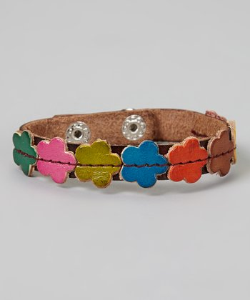 Brown & Red Flower Leather Bracelet