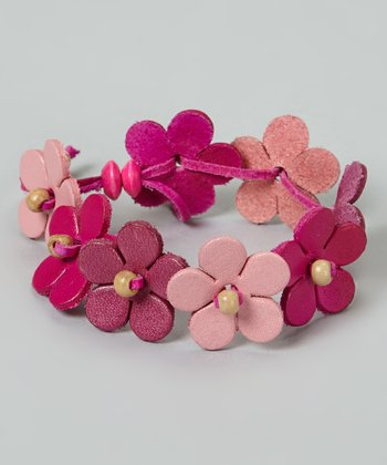 Pink Flower Leather Cord Bracelet