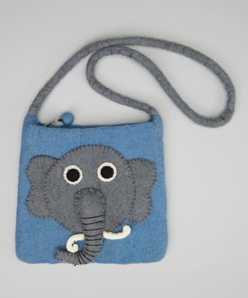 Blue & Gray Elephant Crossbody Bag