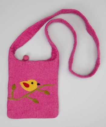 Pink & Yellow Bird Crossbody Bag