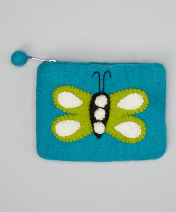 Turquoise & Green Wool-Blend Coin Purse