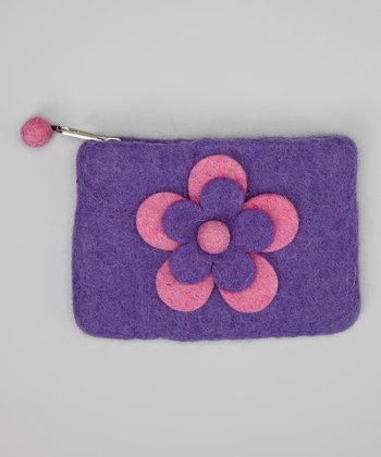 Pink & Purple Flower Felt Coin Purse