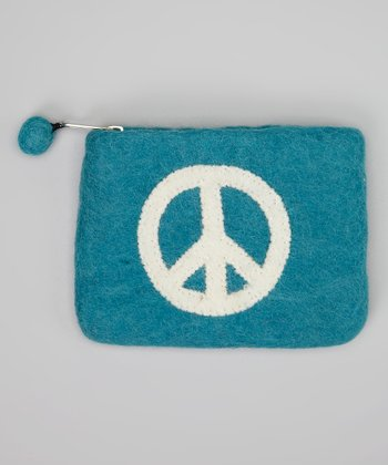 Turquoise & White Peace Wool-Blend Felt Coin Purse