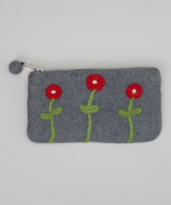 Gray & Red Flower Felt Coin Purse