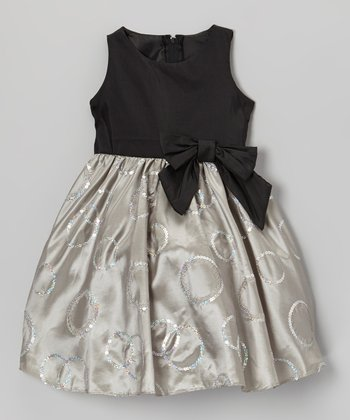 Silver Sequin Polka Dot Taffeta Dress - Toddler & Girls