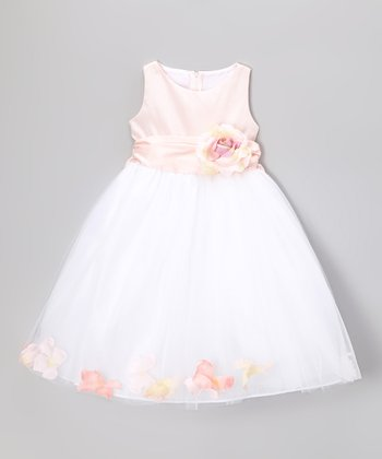 Pink & White Flower Petal Dress - Toddler & Girls