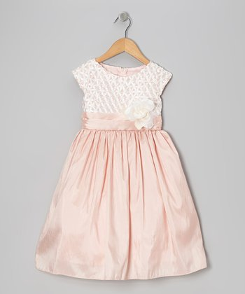 Pink Ribbon-Bodice Taffeta Dress - Toddler & Girls