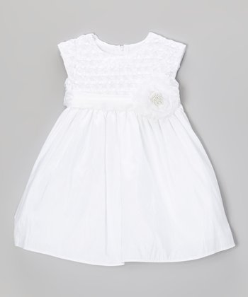 White Ribbon-Bodice Taffeta Dress - Infant, Toddler & Girls