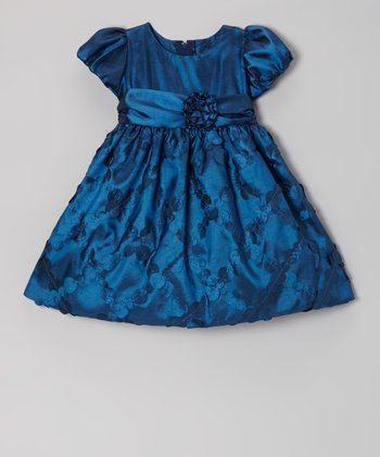 Navy Diamond Taffeta Dress - Infant, Toddler & Girls