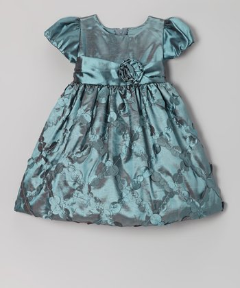 Teal Diamond Taffeta Dress - Infant