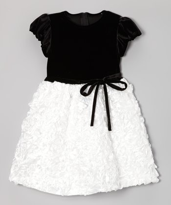 Black & White Velvet Rosette Dress - Toddler & Girls