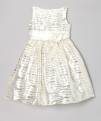Ivory Sequin Streamer Dress - Toddler & Girls