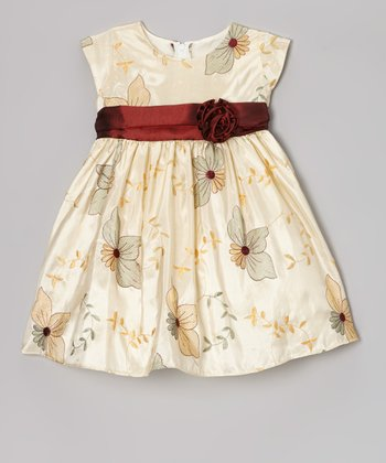 Ivory Poinsettia Taffeta Dress - Infant, Toddler & Girls