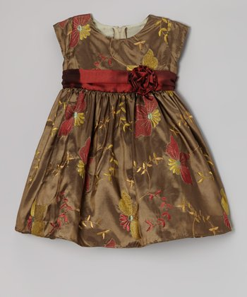 Olive Poinsettia Taffeta Dress - Infant, Toddler & Girls