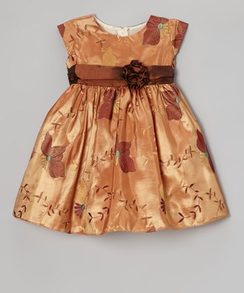 Rust Poinsettia Taffeta Dress - Infant, Toddler & Girls