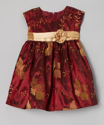 Burgundy Poinsettia Taffeta Dress - Infant