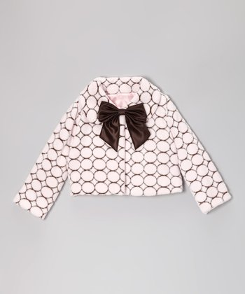 Pink Polka Dot Faux Fur Jacket - Infant, Toddler & Girls