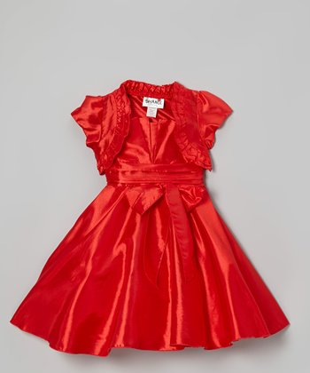 Red Bow Dress & Ruffle Shrug - Girls