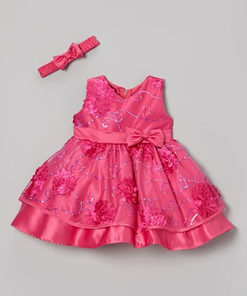 Fuchsia Floral Sequin Dress & Bow Headband - Infant