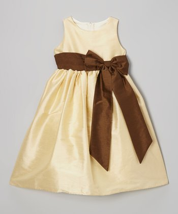 Champagne & Brown Bow Dress - Toddler & Girls