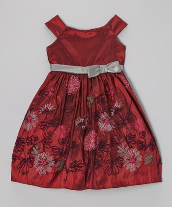 Burgundy & Gray Floral Dress - Girls