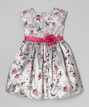 Gray & Pink Floral Cap-Sleeve Dress - Girls
