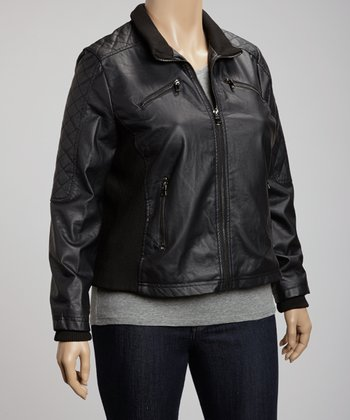 Black Quilted Jacket - Plus
