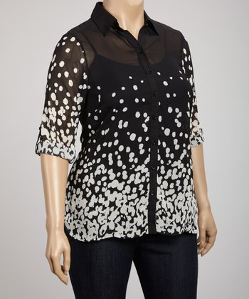 Black & White Sheer Dot Button-Up - Plus
