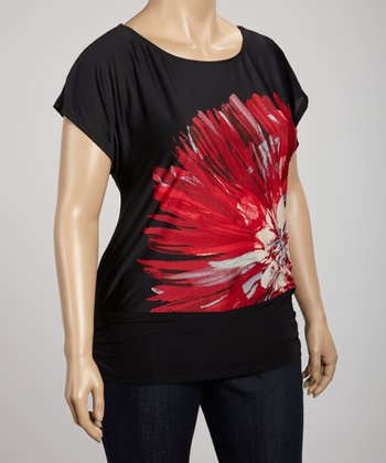 Black & Red Flower Scoop Neck Tunic - Plus