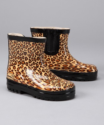 Brown Leopard Rain Boot - Kids