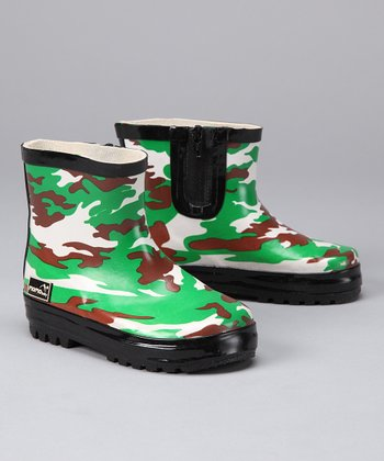 Green Camo Rain Boot - Kids