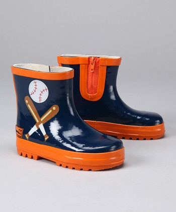 Navy Baseball Rain Boot - Kids