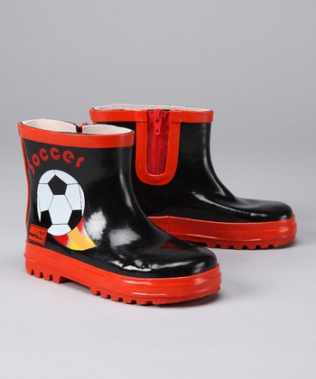 Black Soccer Rain Boot - Kids