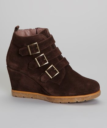 Brown Buckle Lara Wedge Boot