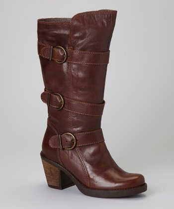 Brown Buckle Leather Shannon Boot