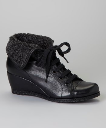 Black Fold-Over Vega Ankle Boot