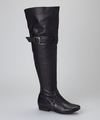 Black Leather Vogue Over-the-Knee Boot