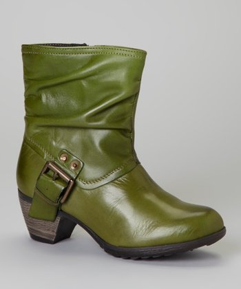 Green Scrunch Leather Clay Boot