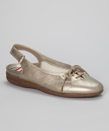 Gold Leather Mirelly Slingback Flat