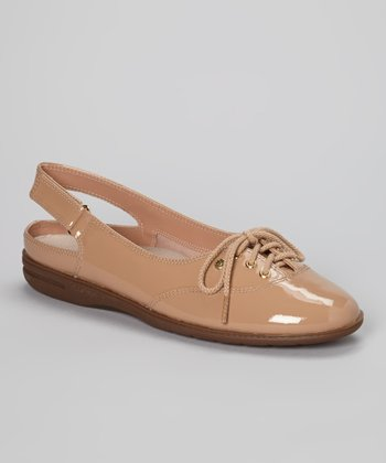 Natural Patent Leather Mirelly Slingback Flat