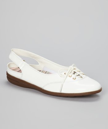 White Patent Leather Mirelly Slingback Flat