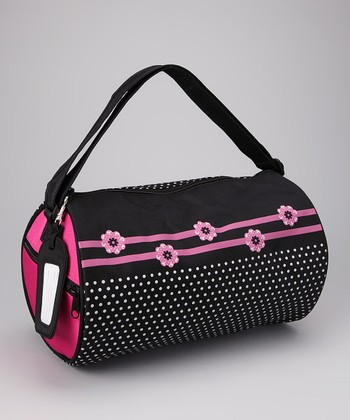 Black Flowers Duffel Bag